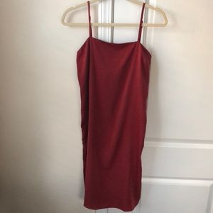 Lulu's Rust Red Slip Dress with side slits XS